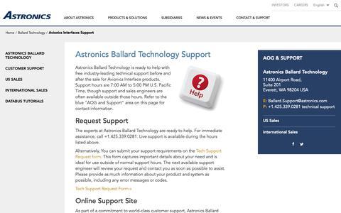Screenshot of Support Page astronics.com - Astronics Ballard Technology Support - captured Dec. 18, 2018