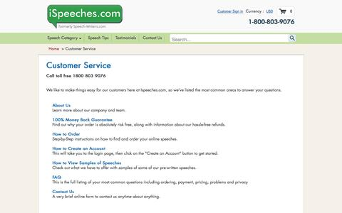 Screenshot of Support Page ispeeches.com - Customer Service - captured Aug. 6, 2016