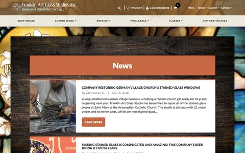 Screenshot of Press Page franklinartglass.com - News Articles Archive - Franklin Art Glass - captured Oct. 11, 2018