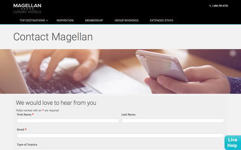 Screenshot of Contact Page magellanluxuryhotels.com - Contact Magellan - Magellan Luxury Hotels - captured Dec. 23, 2017