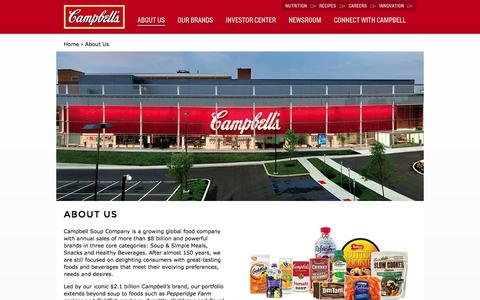 Screenshot of About Page campbellsoupcompany.com - About Campbell Soup Company - captured Sept. 19, 2014