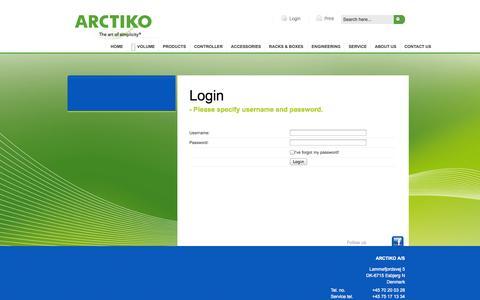 Screenshot of Login Page arctiko.com - my Arctiko - captured Oct. 4, 2014
