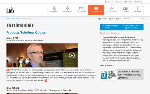 Screenshot of Testimonials Page ebix.com - Insurance Software Solution   Insurance Software Development -Ebix - captured July 6, 2018