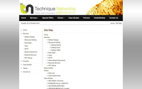 Screenshot of Site Map Page techniquenet.co.uk - Site Map - captured Oct. 7, 2014