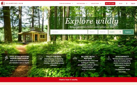 Screenshot of Home Page glampinghub.com - Glamping Hub | The best collection of glamping from around the world - captured Nov. 11, 2015