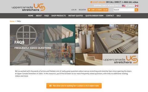 Screenshot of FAQ Page ucsart.com - FAQs - Upper Canada Stretchers | Art Canvas Stretcher Bars | Serving USA & Canada - captured Oct. 18, 2018