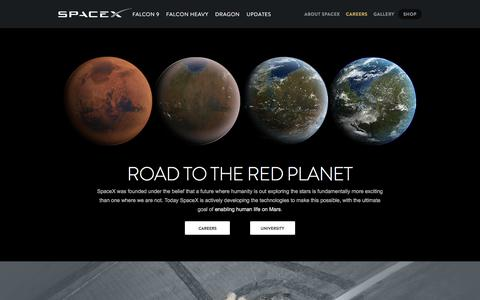 Screenshot of Jobs Page spacex.com - Careers | SpaceX - captured July 29, 2018