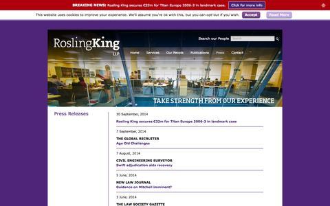 Screenshot of Press Page roslingking.com - Press - Rosling King LLP - captured Oct. 1, 2014