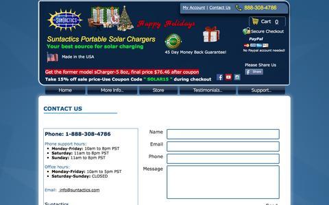 Screenshot of Contact Page suntactics.com - Contact Suntactics - captured Dec. 11, 2016