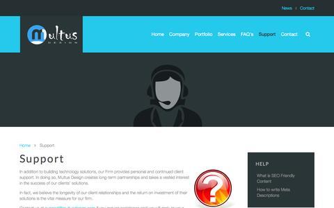 Screenshot of Support Page multusdesign.com - Support - Multus Design - captured Jan. 12, 2016