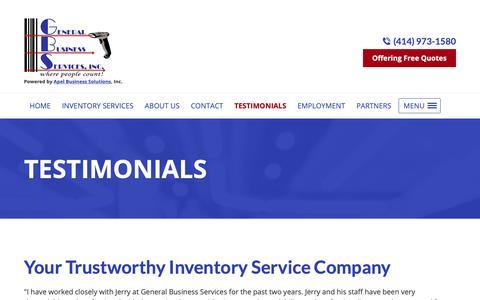 Screenshot of Testimonials Page countinv.com - Inventory Service Company, Inventory Crew | Menomonee Falls, WI - captured Nov. 10, 2018