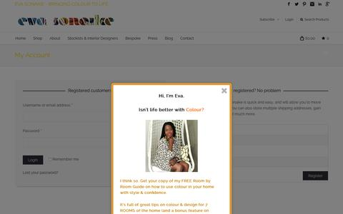 Screenshot of Login Page evasonaike.com - Eva Sonaike | My Account |home and fashion accessories with African prints, African textiles, tribal prints - captured Dec. 12, 2015