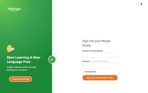Screenshot of Login Page mangolanguages.com - Mango Languages - captured Nov. 15, 2017