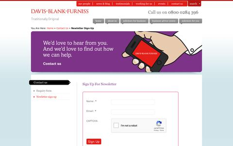 Screenshot of Signup Page dbf-law.co.uk - Newletter sign-up : Davis Blank Furniss - captured Dec. 19, 2018