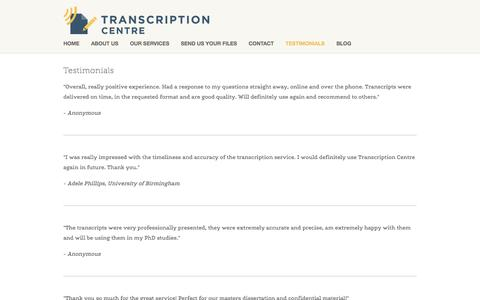 Screenshot of Testimonials Page transcriptioncentre.co.uk - Testimonials — Transcription Centre - captured Aug. 18, 2016