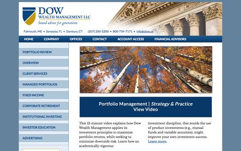 Screenshot of Home Page dow.us - Dow Wealth Management, financial services, investment portfolios, stocks and bonds – - captured Oct. 5, 2014