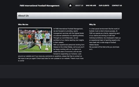 Screenshot of About Page webs.com - FMB International Football Management - About Us - captured Sept. 13, 2014