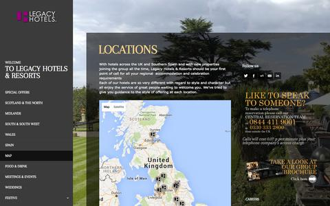 Screenshot of Locations Page legacyhotelsandresorts.co.uk - Locations - Legacy Hotels & Resorts Ltd - captured Sept. 27, 2015