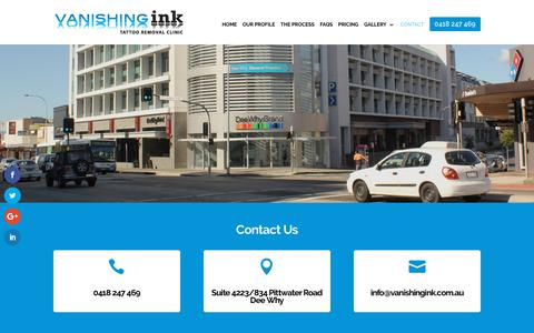 Screenshot of Contact Page vanishingink.com.au - Laser Tattoo Removal | Location, Parking and Contact Details - captured Oct. 19, 2017