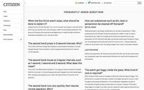 Screenshot of FAQ Page citizenwatches.com.au - FAQ | Citizen Watches Australia - captured Jan. 20, 2016