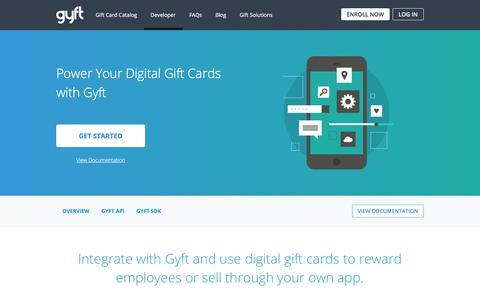 Screenshot of Developers Page gyft.com - Gyft Developer - Gyft Corporate - captured July 13, 2018