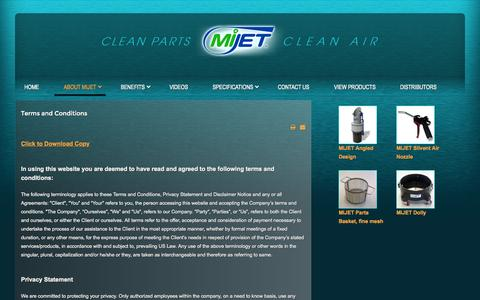 Screenshot of Terms Page mijet.com - Terms & Conditions - captured Oct. 27, 2014