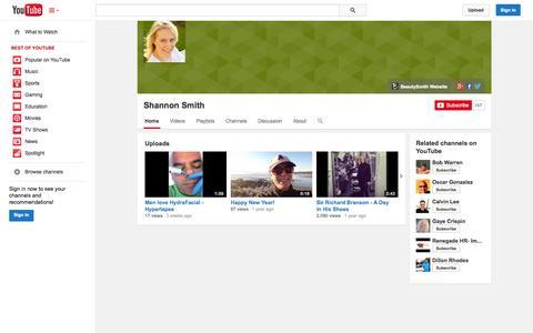 Screenshot of YouTube Page youtube.com - Shannon Smith  - YouTube - captured Nov. 3, 2014