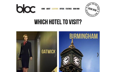 Screenshot of Locations Page blochotels.com - Hotels Birmingham, Affordable Hotels in Birmingham City Centre | Bloc Hotels - captured Sept. 30, 2014