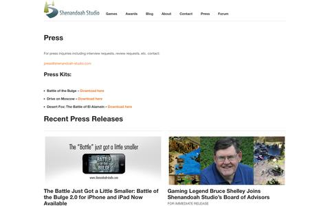 Screenshot of Press Page shenandoah-studio.com - Shenandoah Studio Press - captured Sept. 17, 2014