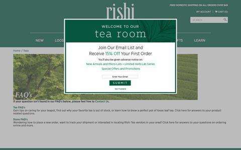 FAQs | Rishi Tea