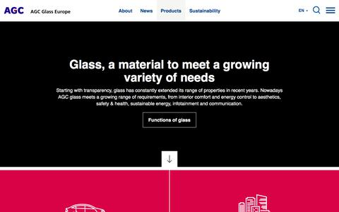 Screenshot of Products Page agc-glass.eu - Products | AGC Glass Europe - captured Aug. 6, 2017