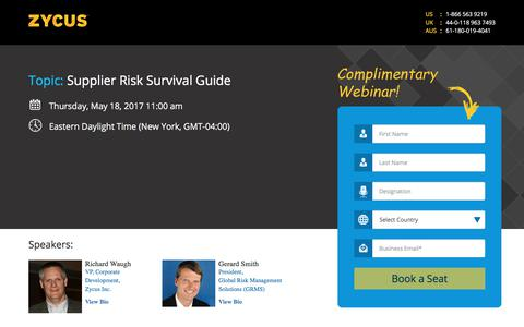 Screenshot of Landing Page zycus.com - Supplier Risk Survival Guide - captured July 2, 2017
