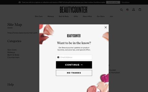Screenshot of Site Map Page beautycounter.com - Site Map | Beautycounter - captured Feb. 12, 2020