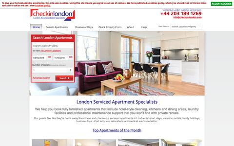 Screenshot of Home Page check-in-london.com - Serviced Apartments London by Check-in-London - captured Sept. 27, 2018