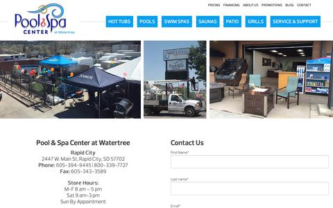 Screenshot of Contact Page poolsandspas.com - Contact Us - Pool and Spa Center at Watertree - captured Oct. 18, 2018