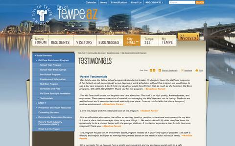 Screenshot of Testimonials Page tempe.gov - City of Tempe, AZ : Testimonials - captured Sept. 22, 2014