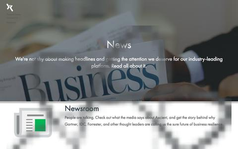 Screenshot of Press Page axcient.com - Recovery-as-a-service News and Events - Axcient - captured June 28, 2016