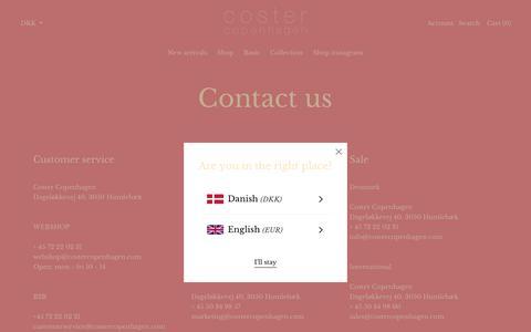 Screenshot of Contact Page costercopenhagen.com - Contact – costercopenhagen.com - captured July 8, 2019