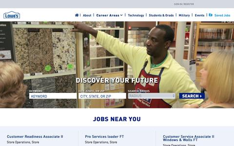 Screenshot of Jobs Page lowes.com - Working at Lowe's Inc. - captured Aug. 12, 2019