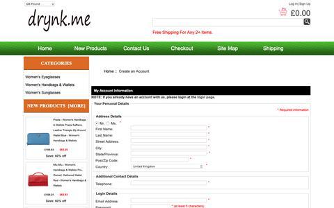 Screenshot of Signup Page drynk.me - Create an Account : Koop Fashion Sunglasses Online, Bags | Women's Accessories Store, Koop merkzakken online, mode-zonnebril - captured Oct. 7, 2018