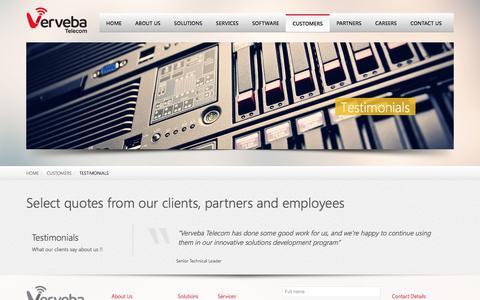 Screenshot of Testimonials Page verveba.com - Testimonials | Verveba Telecom - captured Oct. 20, 2017