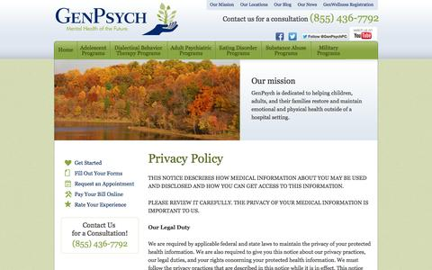 Screenshot of Privacy Page genpsych.com - Privacy Policy | GenPsych - captured Oct. 2, 2014
