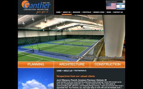 Screenshot of Testimonials Page ganther.com - Ganther Construction Construction | Architecture  : ABOUT US : TESTIMONIALS - captured Oct. 2, 2014