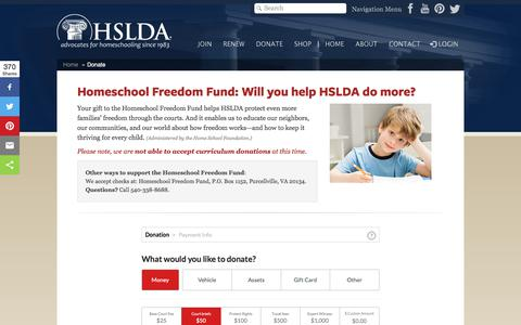 Screenshot of Support Page hslda.org - Donate to HSLDA | Homeschool Freedom Fund - captured Oct. 15, 2017