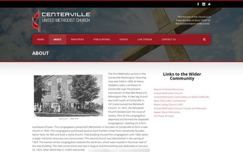 Screenshot of About Page 4cumc.org - Centerville United Methodist Church   » About - captured Oct. 2, 2014