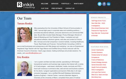 Screenshot of Team Page ronkin.com - Eric Ronkin and Tamara Ronkin are a web design, marketing and programming consulting team in Coral Springs, Florida - captured Nov. 19, 2018