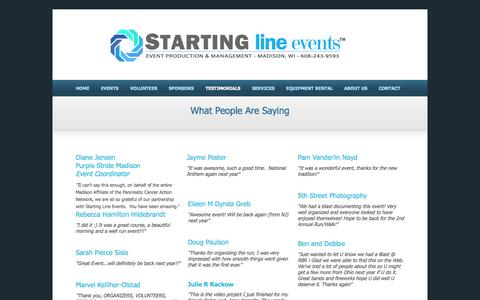 Screenshot of Testimonials Page startinglineevents.com - Testimonials - captured Oct. 1, 2014
