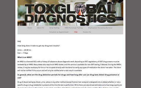 Screenshot of FAQ Page toxglobal.com - FAQ-ToxGlobal - captured Oct. 7, 2014
