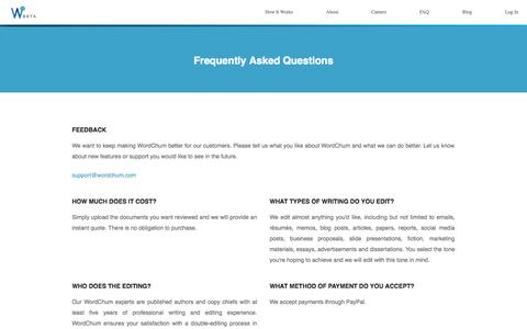 Screenshot of FAQ Page wordchum.com - Faq Page |             WordChum - captured Oct. 9, 2014