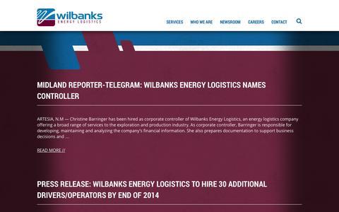 Screenshot of Press Page wilbanksel.com - Newsroom Archive - Wilbanks - captured Oct. 26, 2014